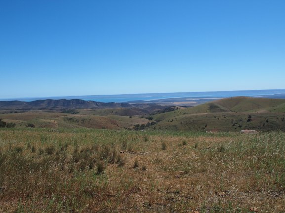 View from the top of Horrocks Pass with Spencer Gulf in the distance