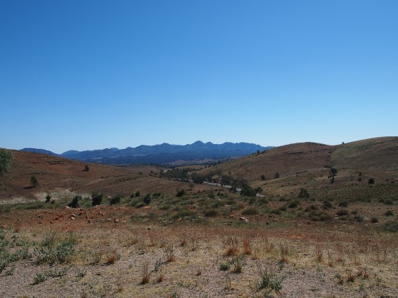 Looking back at Wilpena Pound on the way to Blinman