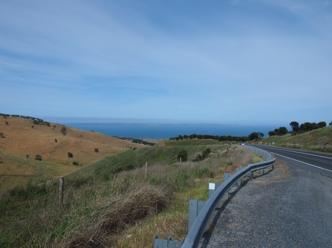Looking out To Kangaroo Island on the road to Cape Jervis