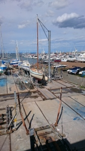 In the boat yard for a clean